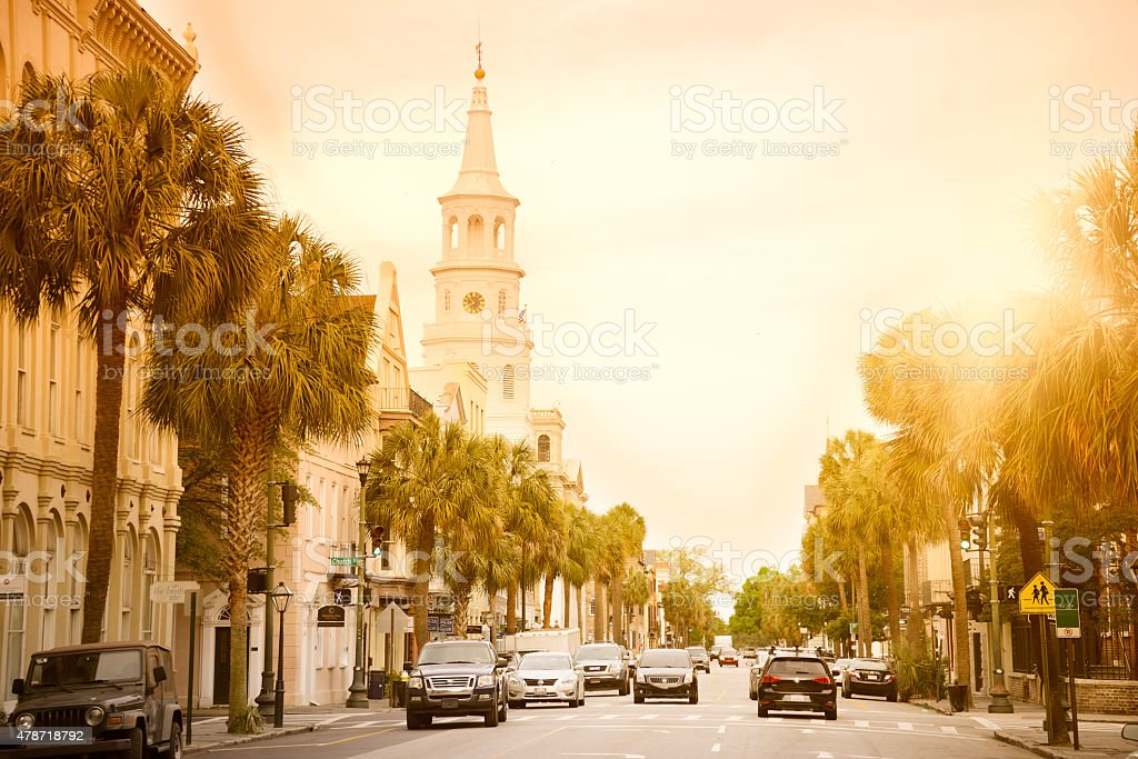 Main Street, Charleston stock photo