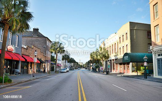 Downtown Charleston, South Carolina, USA - May/05/2015: main street with people, stores and restaurant.