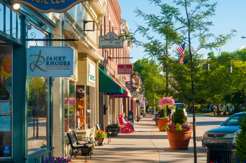 Hudson, OH, USA - JuneE 14, 2014: Quaint shops and businesses that go back more than a century give Hudson's Main Street a charming and inviting appeal.