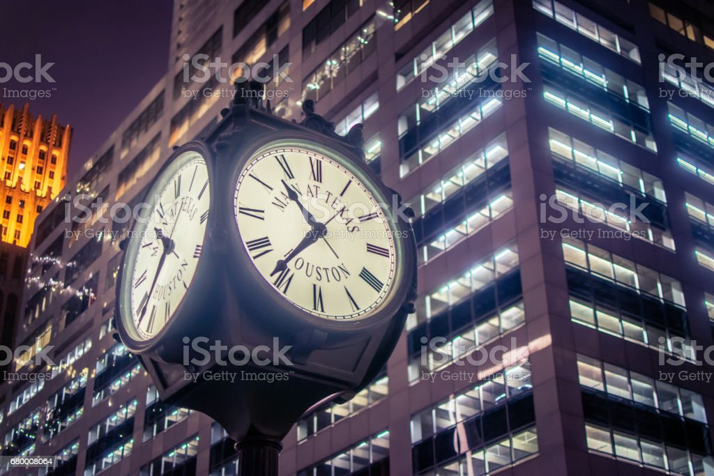 Main Street Clock stock photo