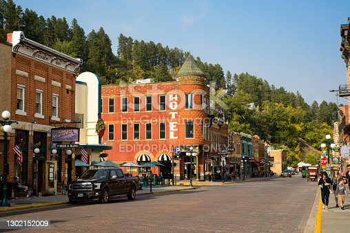 Deadwood, SD, USA - September 15, 2020: The historic Fairmont Hotel restaurant, saloons, bars, and other attractions bring visitors the Old West on Main St. in this Black Hills gold rush town, famous for Wild Bill Hickok and Calamity Jane.