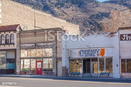 Eureka, Utah, USA - November, 9, 2017. Stores line the Main Street of the historic town once a prosperous mining community in the Tintic Mining District.