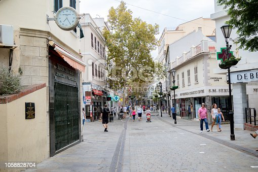 Gibraltar, United Kingdom, 30th September 2018:- Main street area of the town of Gibraltar, the main shopping street.Gibraltar is a British Overseas Territory located on the southern tip of Spain.