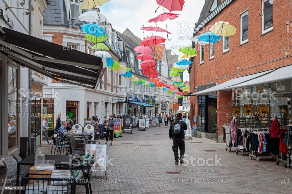 Vestergade, Viborg, Denmark - August 10, 2018: Main Street is a kind...