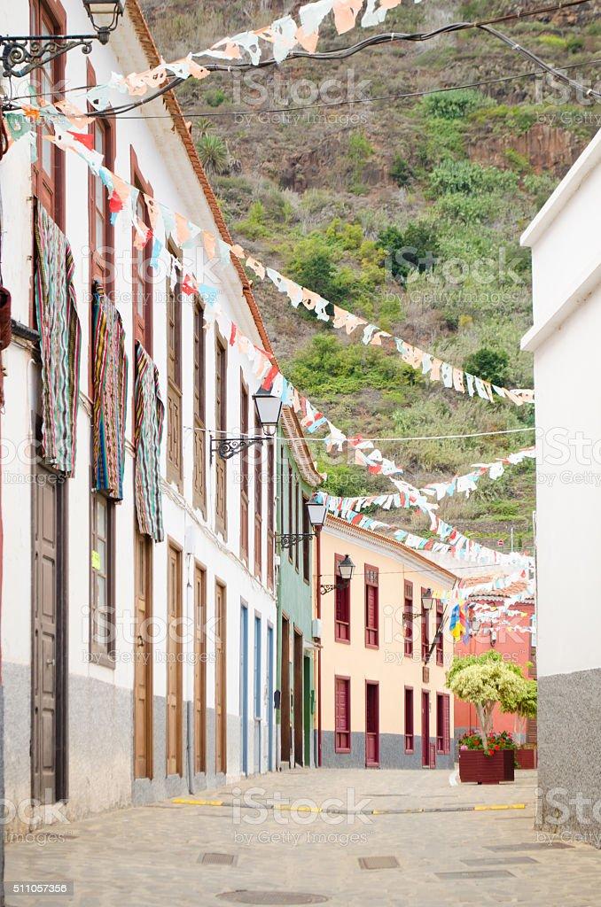 Main Street in Agulo, La Gomera. stock photo