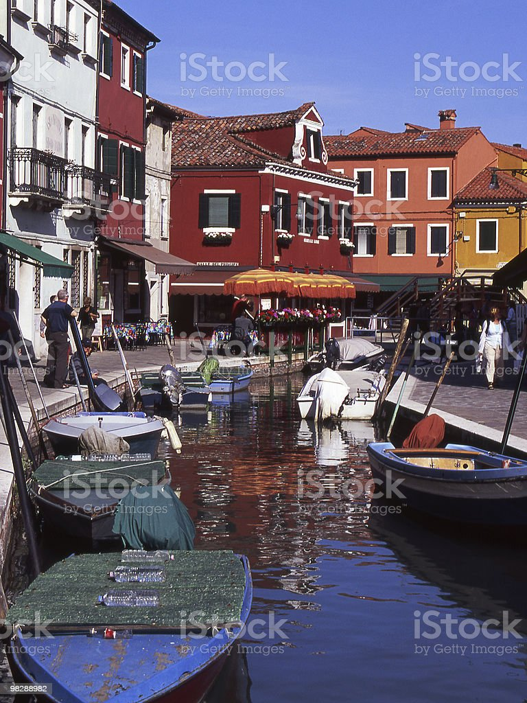 Main Street in Burano, Venice, Italy royalty-free stock photo
