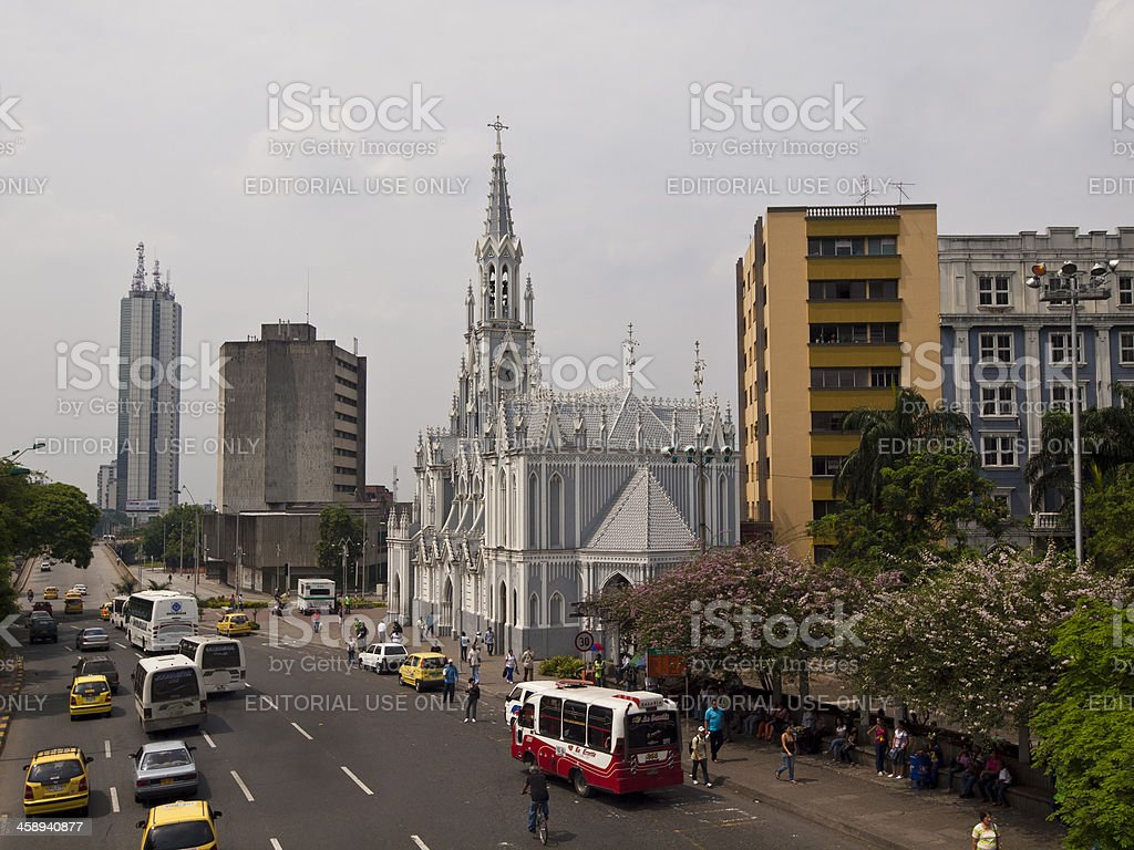 Main Street in Cali, Colombia stock photo