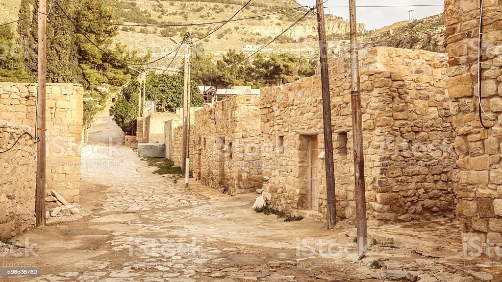 Main street in  Dana vilage, Dana natrure reserve. in Jordan. stock photo