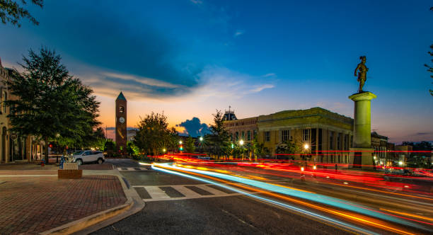 Main Street in Downtown Spartanburg, South Carolina Long Exposure of Main Street in Downtown Spartanburg, South Carolina, USA. spartanburg stock pictures, royalty-free photos & images