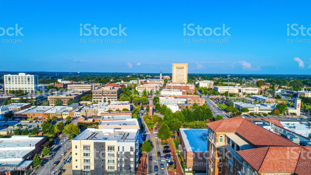 Main Street in Downtown Spartanburg, South Carolina, USA. stock photo