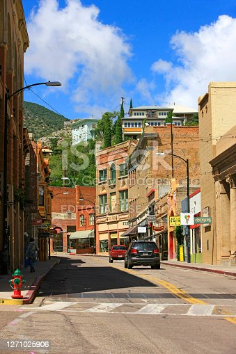 Main street in Old Bisbee surrounded by the Mule Mountains in SE Arizona