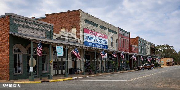 Plains, Georgia, USA - November 13, 2016: Main Street in downtown Plains, Georgia