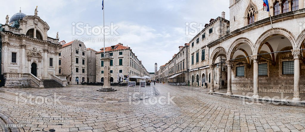 Main street in the old town of Dubrovnik, Croatia stock photo