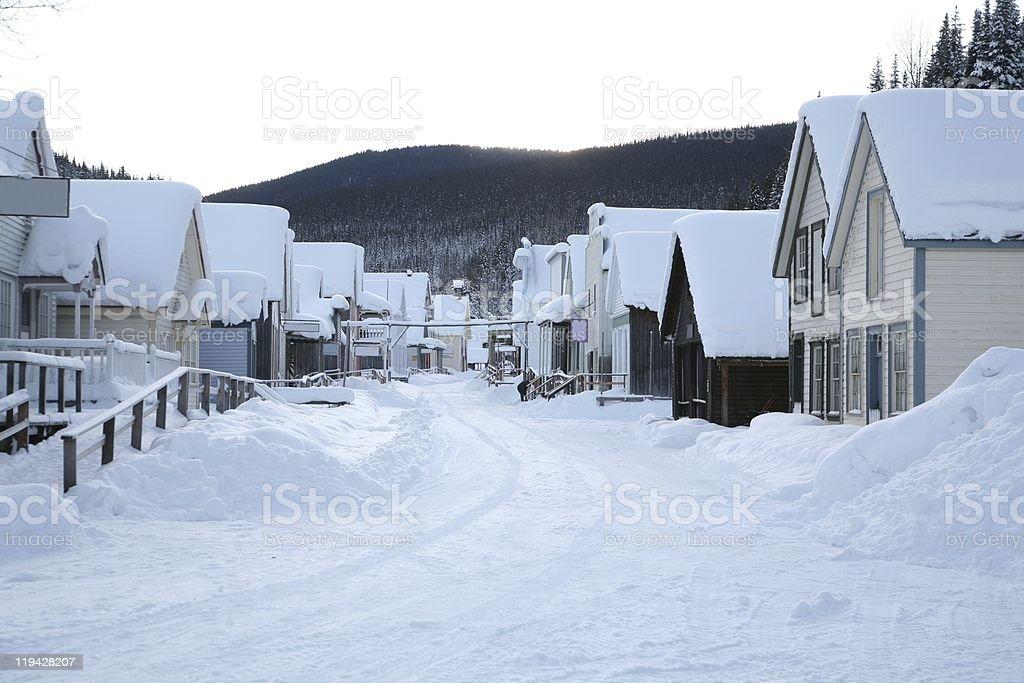 Main street in winter, Barkerville Historic Town, British Columbia. stock photo