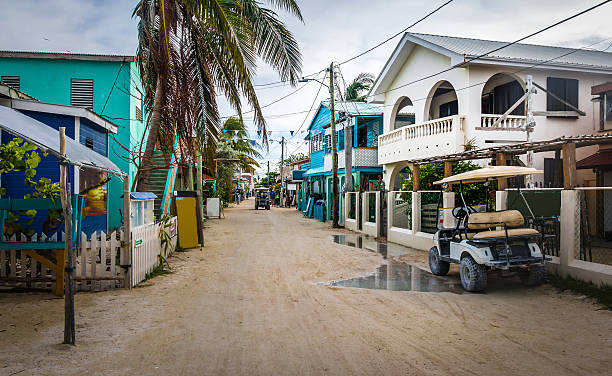 Main street of Caye Caulker - Belize stock photo