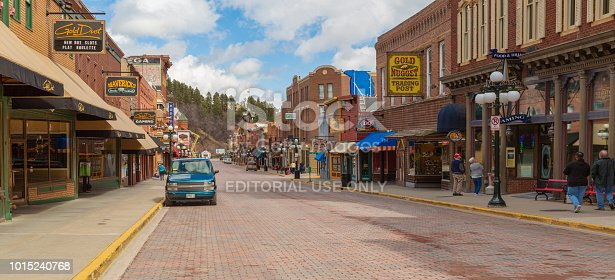 Deadwood South Dakota USA - 29 Mar 2017, Quiet Main Street of Deadwood in off season.