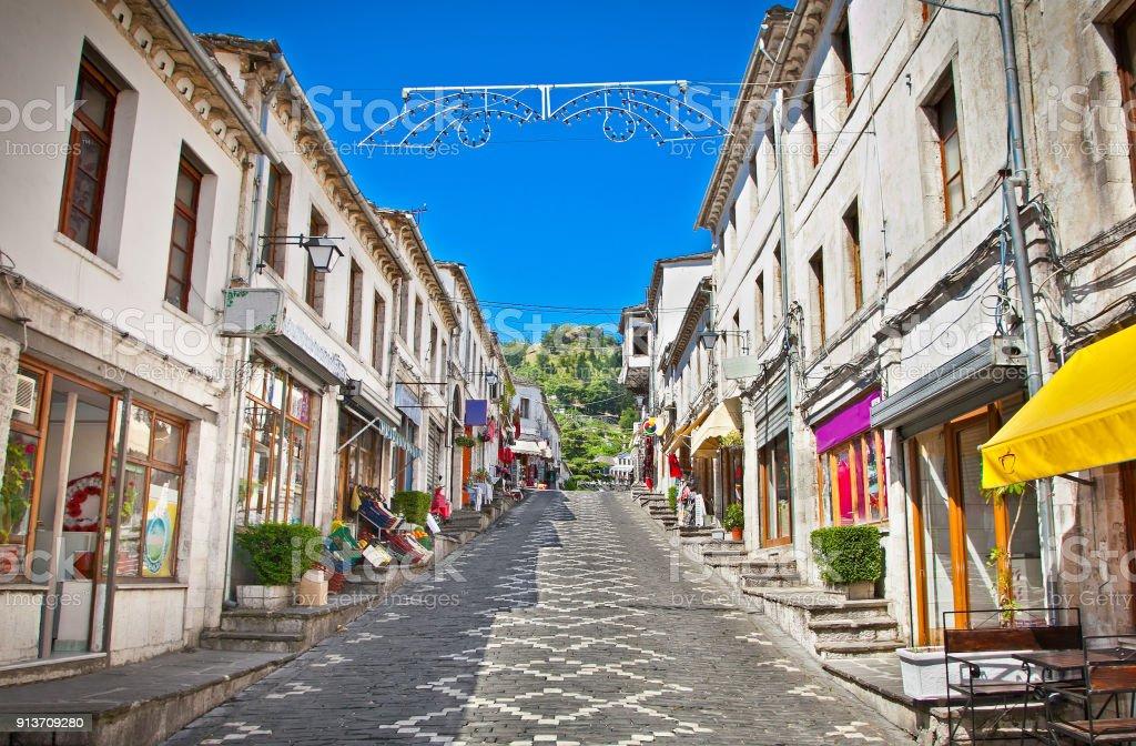 Main street  of historic town Gjirokaster, Albania. – zdjęcie