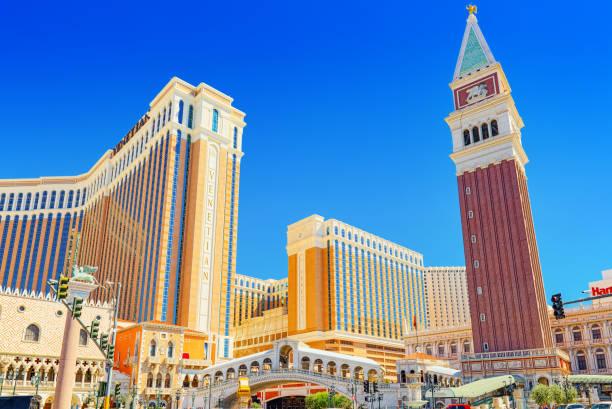Las Vegas ana sokak Strip olduğunu. Casino, otel ve Resort Venedik. stok fotoğrafı