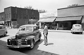 Main street of small rural town in 1941. Keota, Iowa, USA.