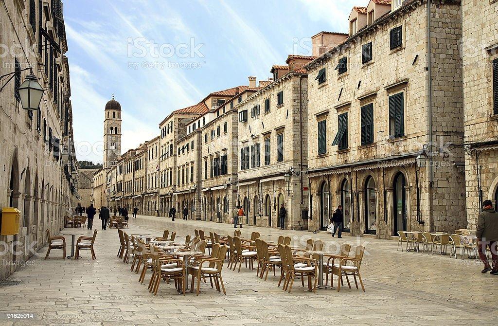 Main street. Old Town in Dubrovnik, Croatia stock photo