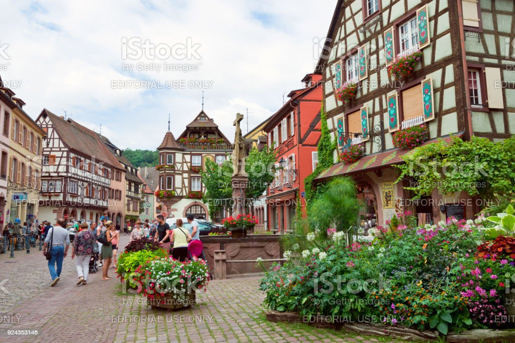 Main street Rue du General de Gaulle in the center of Kaysersberg, France stock photo