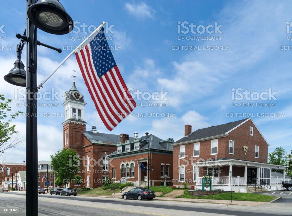 Main Street, Saco, Maine stock photo