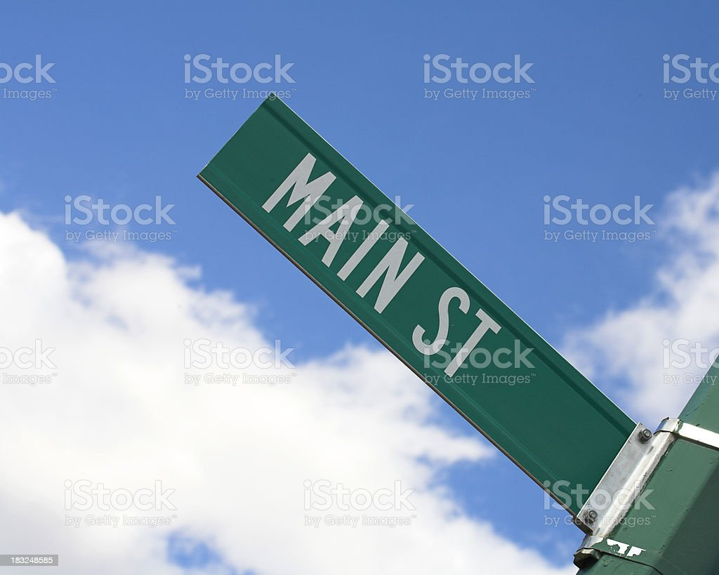 Main Street Sign Against Blue Sky royalty-free stock photo