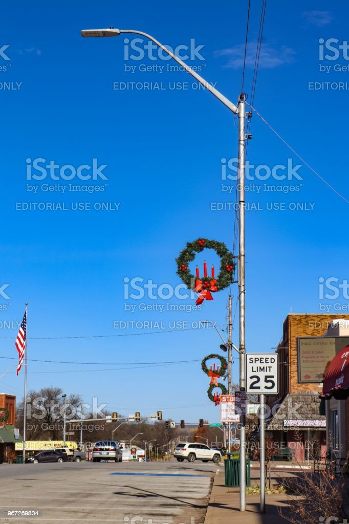 Main Street Small Town America With Christmas Decorations And