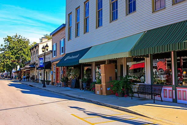 Main Street storefronts in downtown Midway, Kentucky stock photo