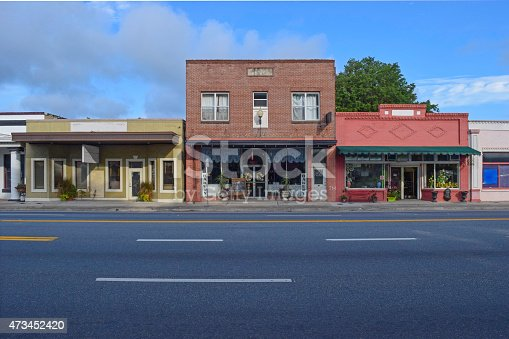 Retail stores in small town America with an empty highway.
