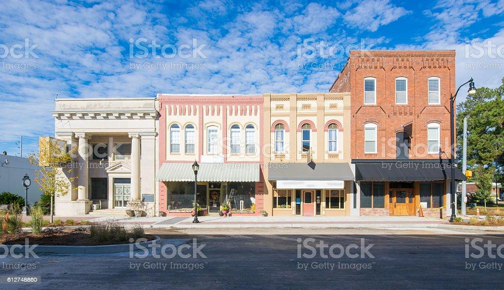 Main Street USA - Small Town Shops - 로열티 프리 0명 스톡 사진