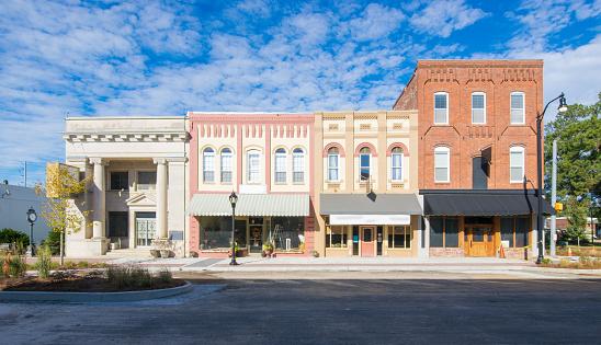 Main Street Usa Small Town Shops 0명에 대한 스톡 사진 및 기타 이미지