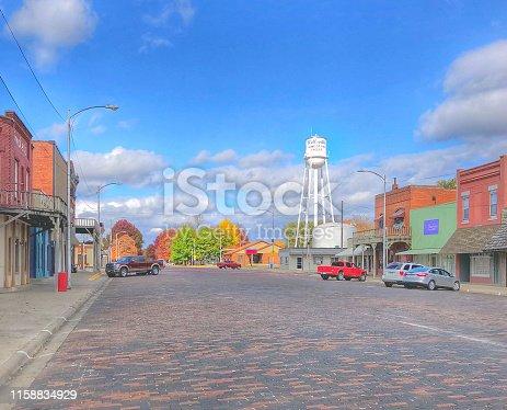 Main Street in Wellsville Kansas on a Fall Day.