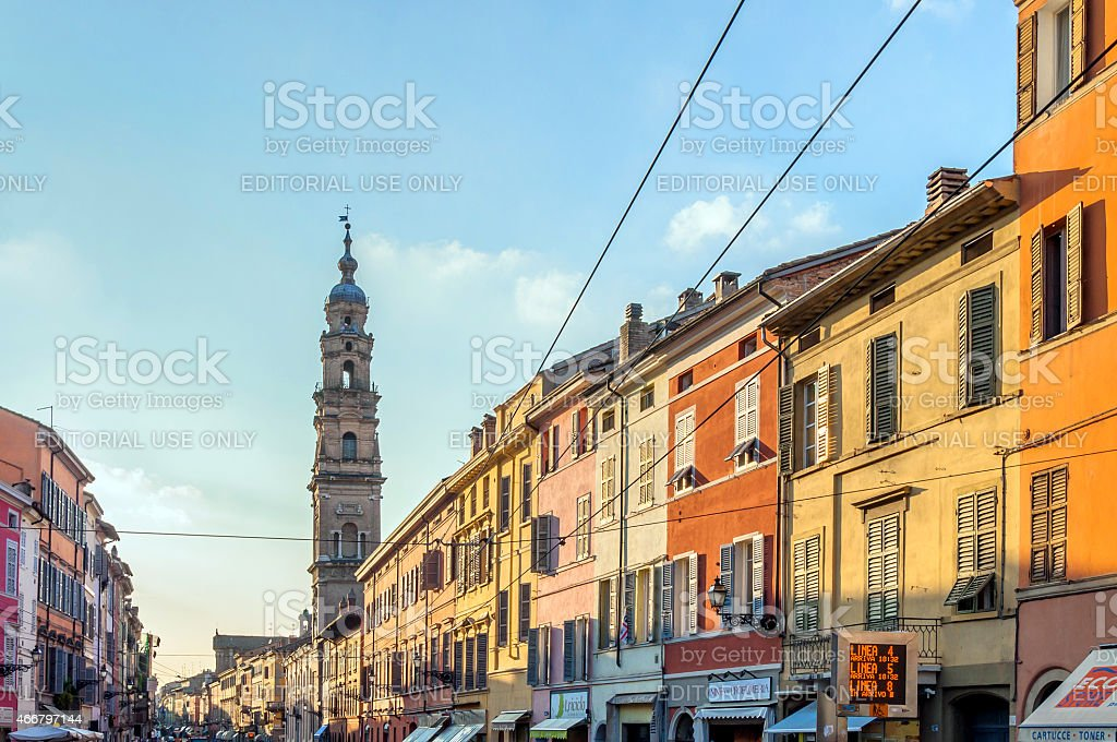 main street with shops and people in Parma, Italy stock photo