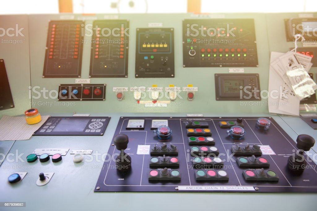 Main switch on bridge for engine room. stock photo