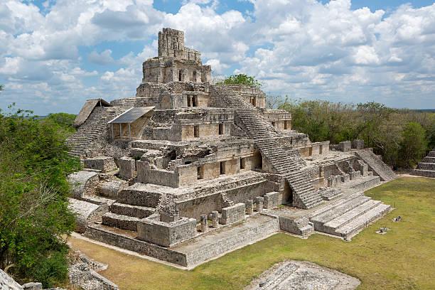 Main temple at Edzna, Campeche stock photo