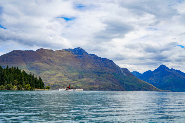 Main Town Pier view, Lake Wakatipu, Otago, New Zealand stock photo