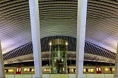 Liege, Belgium 12/04/2019 Main train station Liege Guillemins, which was designed by santiago Calatrava and is part of Europe high speed train network with over 20.000 passengers every day