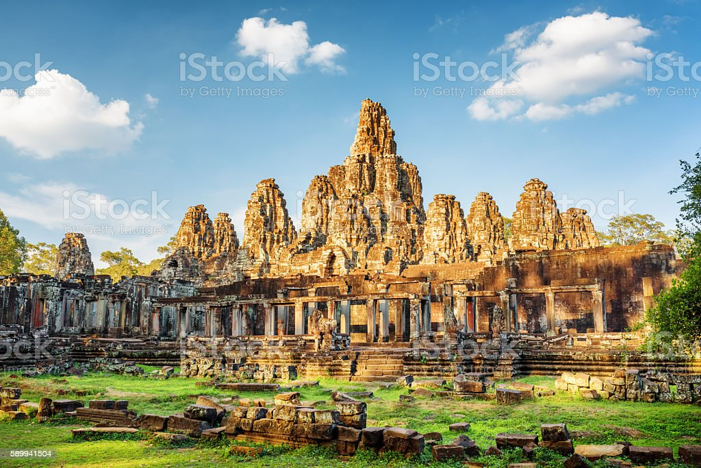 Main view of ancient Bayon temple in Angkor Thom, Cambodia stock photo