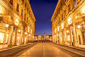 istock Main View of San Carlo Square and Twin Churches at Night, Turin 1042642204