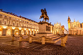 istock Main View of San Carlo Square and Twin Churches at Night, Turin 909249068
