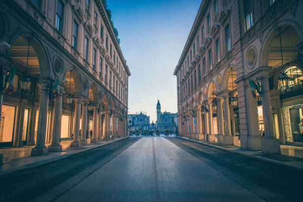 Main View of San Carlo Square and Twin Churches at Night, Turin stock photo