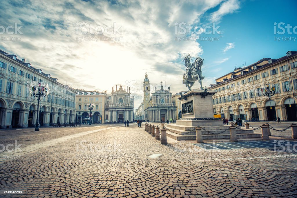 Main View of San Carlo Square and Twin Churches, Turin stock photo