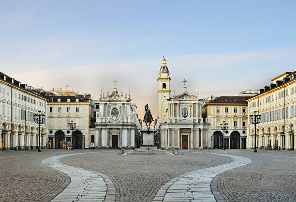 Main view of San Carlo square, twin churches, Turin stock photo