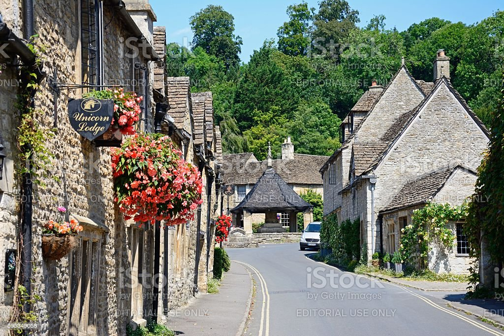 Main village street, Castle Combe. stock photo
