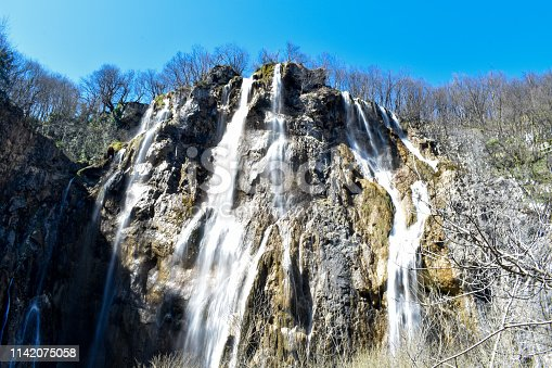 Main waterfall at Plitvice Lakes in Croatia. Beautiful white waterfall during spring.