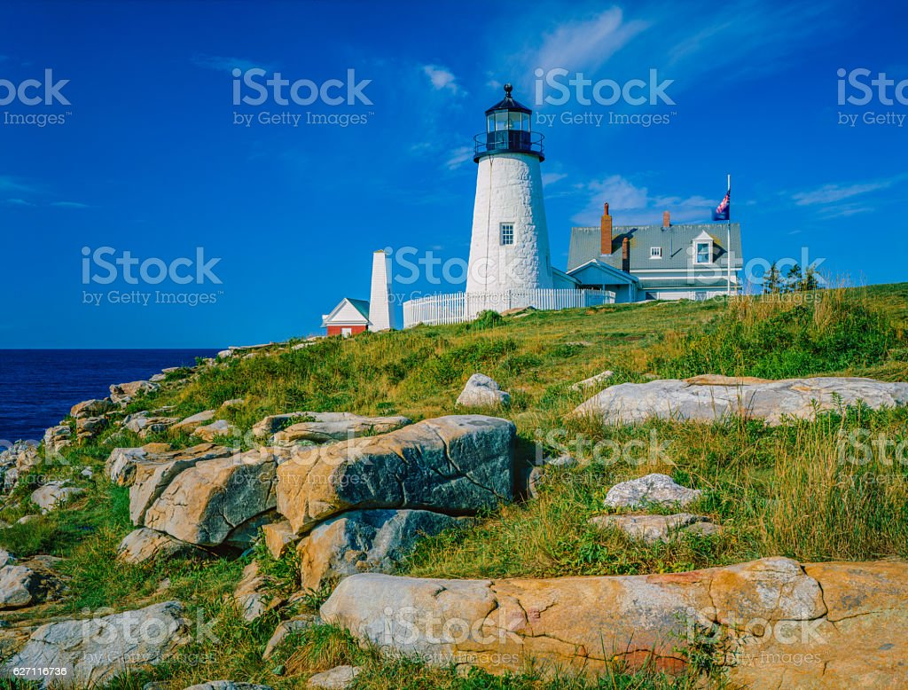 Maine coast with Pemaquid Point Lighthouse stock photo
