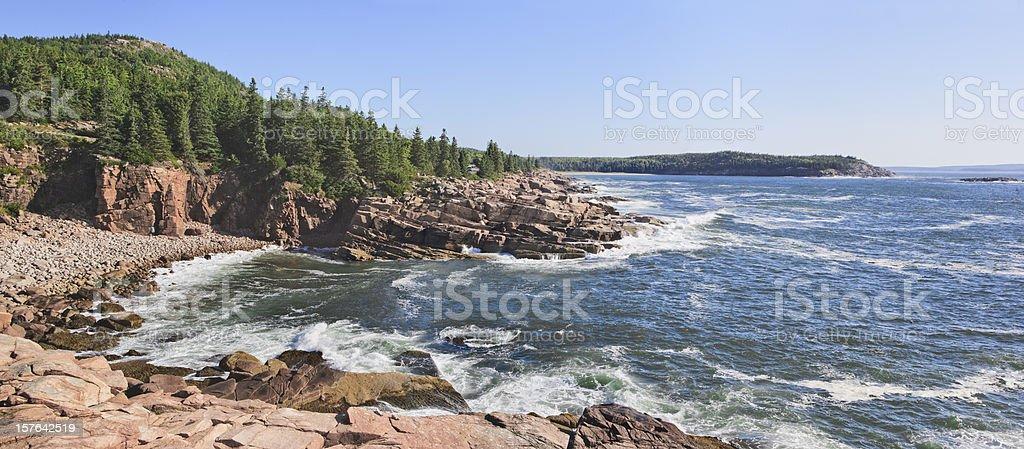 Maine Coastline Panorama stock photo