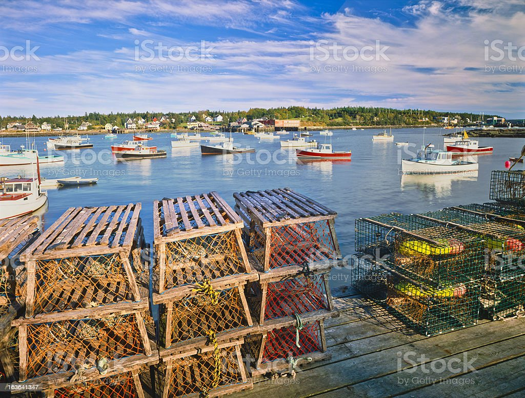 Maine Fishing Village stock photo