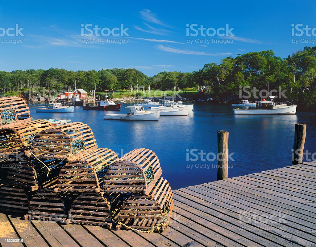 Maine Fishing Village stock photo